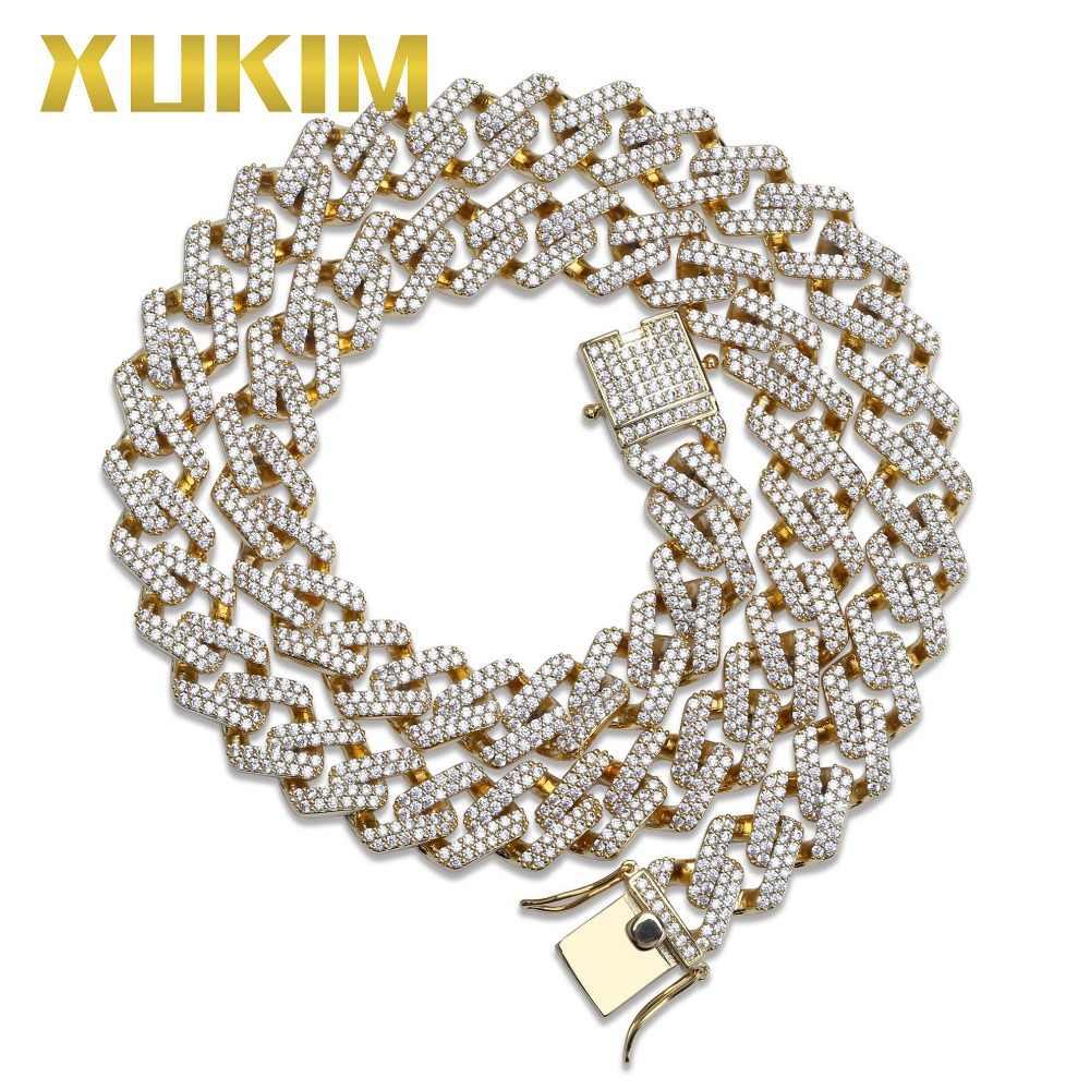 Xukim biżuteria hurtowych 14mm Miami kubańska łańcucha naszyjnik złoty kolor srebrny cyrkon Iced Out Hip Hop biżuteria raper Party prezent
