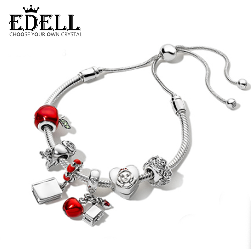 EDELL 100% 925 Sterling Silver Christmas Fairy Tales Charm Apple Bird Book Bracelet Set Original Jewelry Gift Adjustable цена