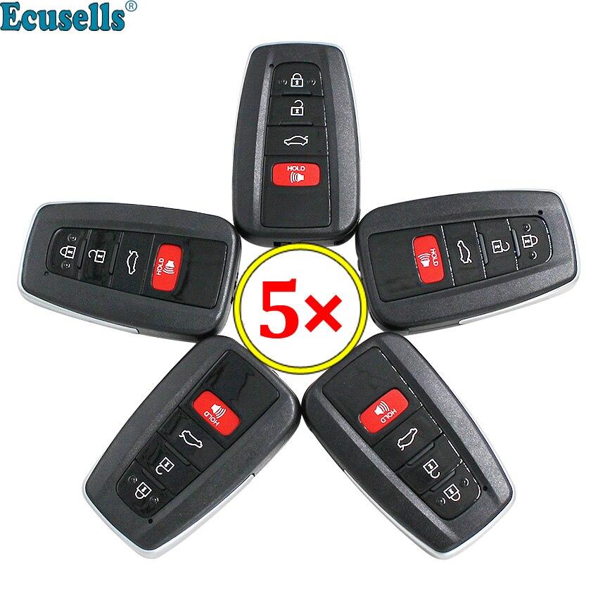 5 pcs/lot 4 boutons remplacement Smart télécommande clé coque Fob 4 boutons pour Toyota C-HR RAV4 Prius Camry Avalon 2018-2019