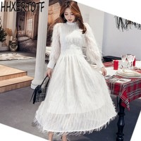 2019 spring summer women dress new fashion high end elegant tassels feathers sexy formal party white runway long sleeve mesh d