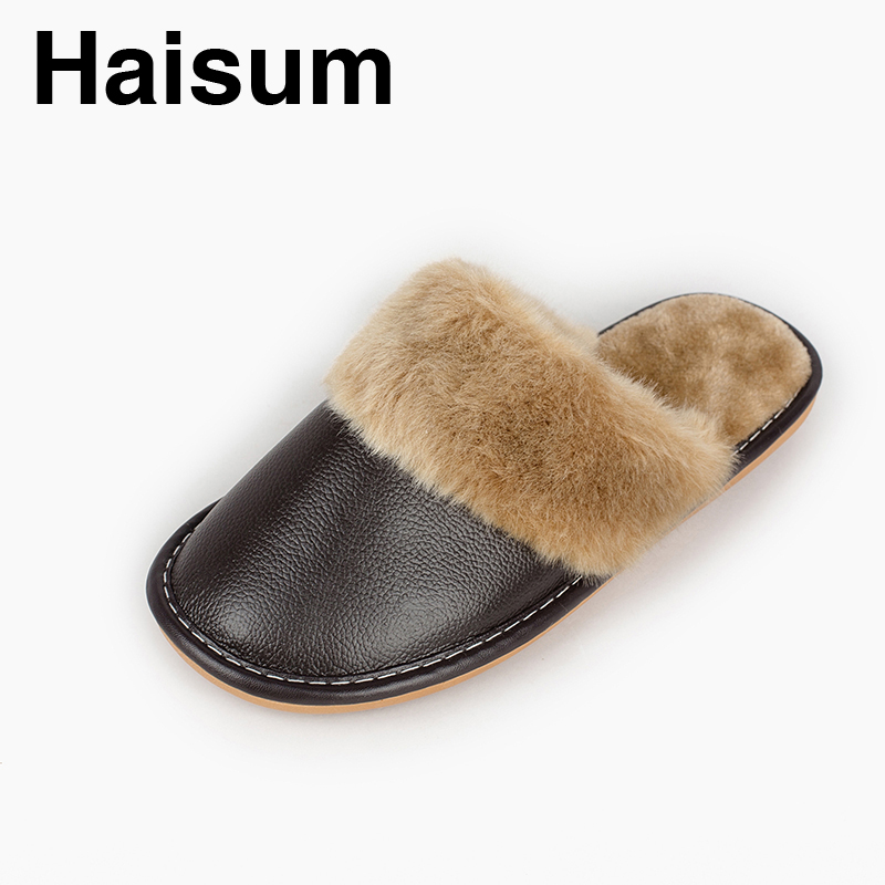 Men 's Slippers Winter genuine Leather Home Indoor Non - Slip Thermal Slippers 2018 New Hot Haisum N-005 men s slippers winter pu leather home indoor non slip thermal slippers 2018 new hot haisum h 8007