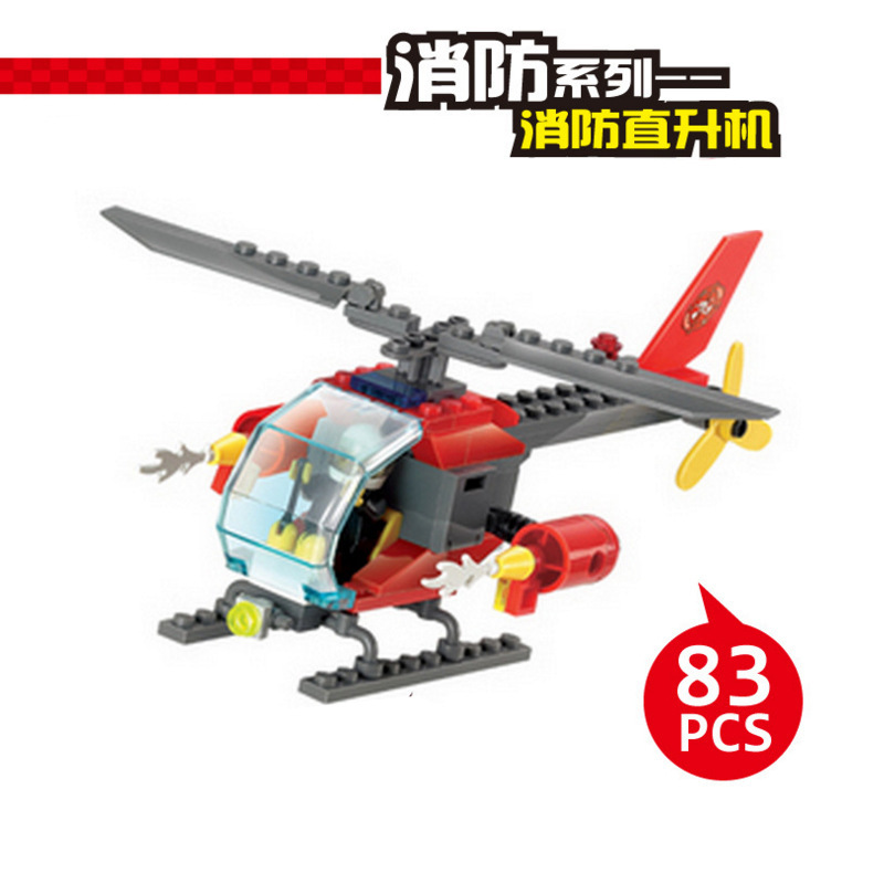 Amusing children's toy building toys compatible with legoes fire rescue helicopter assembly model children education toy blocks