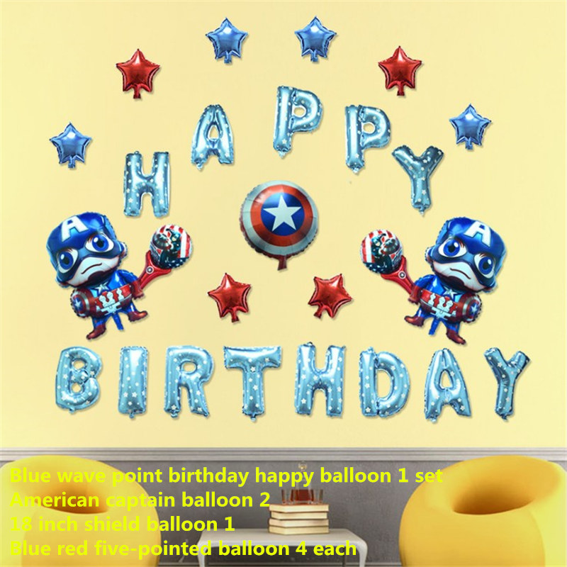 26pcslot american captain balloon set happy birthday blue wave point letters foil balloon baby boy balloons party decoration in ballons accessories from