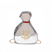 Interesting design Women chain PU leather Messenger shoulder Bag High Quality Silver embroidery dollar printing crossbody bags