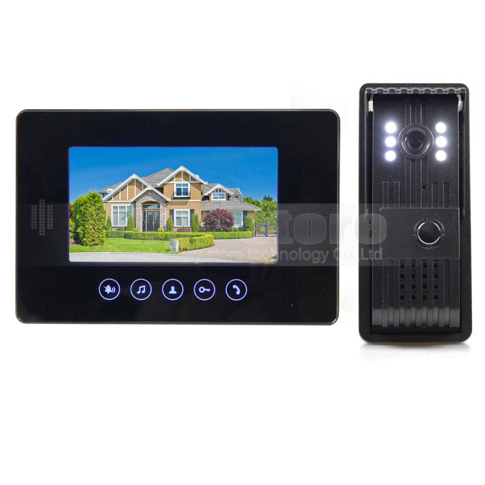DIYKIT 7inch Video Door Phone Video Intercom System Color LCD Monitor 700TVL LED Color Night Vision Camera Doorbell aputure digital 7inch lcd field video monitor v screen vs 1 finehd field monitor accepts hdmi av for dslr