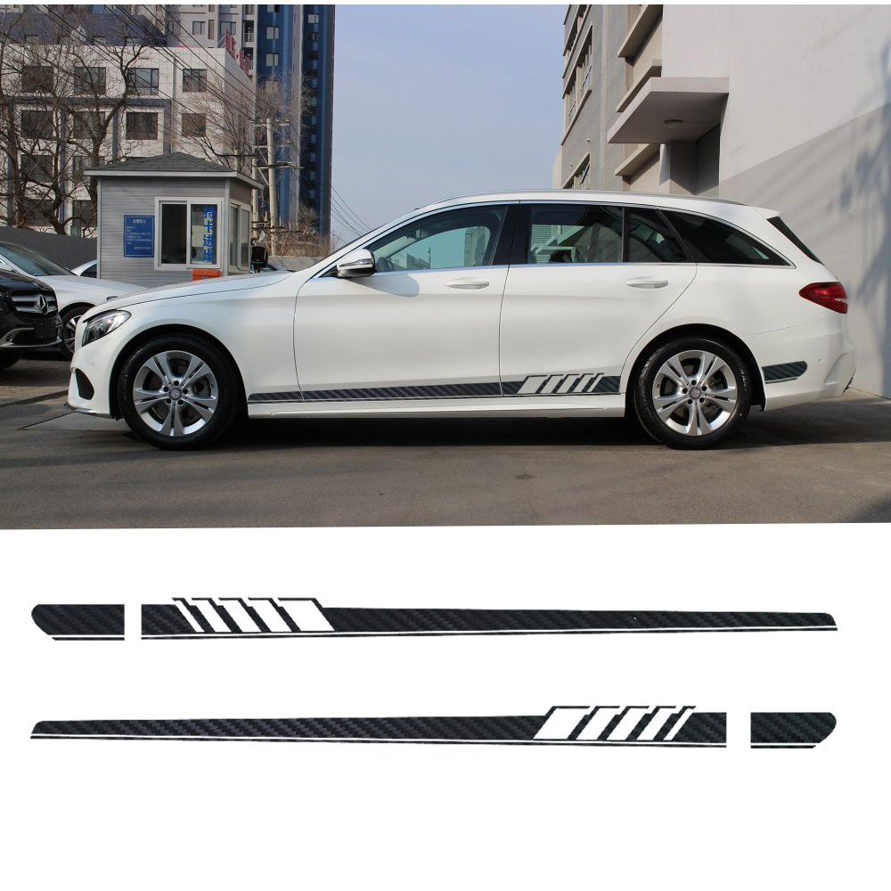 2pcs Edition 1 Style Side Skirt Stripe Sticker for Mercedes Benz S205 C Class W205 Estate C180 C200 C230 C280 C300 C63 AMG car styling auto amg sport performance edition side stripe skirt sticker for mercedes benz g63 w463 g65 vinyl decals accessories