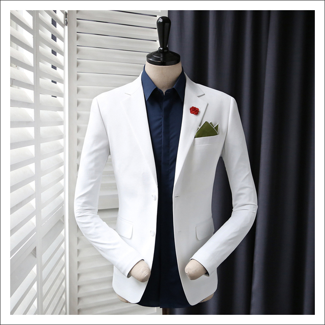 2018 New Men\'s Casual White Wedding Dress Suit Jackets Male Black ...