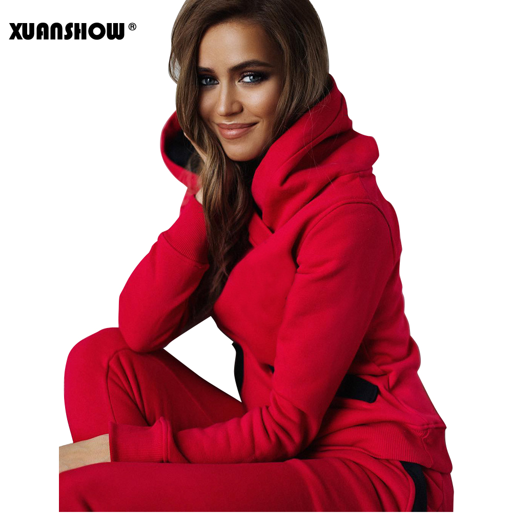 Image 3 - XUANSHOW 2019 Fashion Autumn Winter Tracksuit Women Hoodies Sweatshirts+ Long Pants Two Piece Set Outfits Knitted Chandal Mujer-in Women's Sets from Women's Clothing