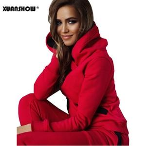 Image 3 - XUANSHOW 2020 אופנה סתיו חורף אימונית נשים נים חולצות + ארוך מכנסיים שתי חתיכה להגדיר תלבושות סרוג Chandal Mujer