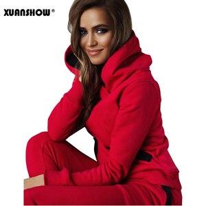 Image 3 - Xuanshow 2020 Mode Herfst Winter Trainingspak Vrouwen Hoodies Sweatshirts + Lange Broek Tweedelige Set Outfits Gebreide Chandal Mujer