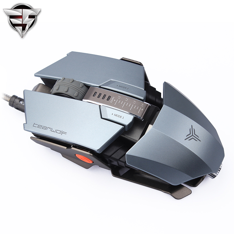 TEAMWOLF Immortal Laser Changeable Gaming mouse 4000dpi backlight wired Metal Programming game USB 7 Buttons RGB