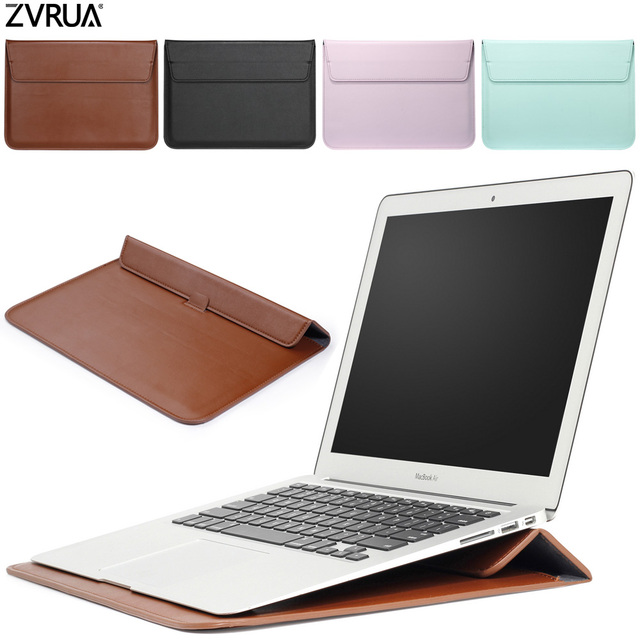 PU Leather Mail sack Sleeve Bag Case Stand For Macbook Air Pro Retina 11 12 13 15 Notebook Laptop Cover For Mac book 13.3 inch