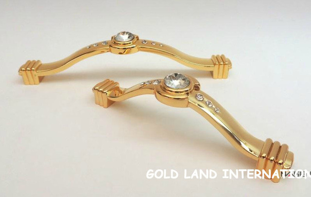128mm Free shipping K9 crystal glass 24K golden doors drawer wardrobe cabinet handle