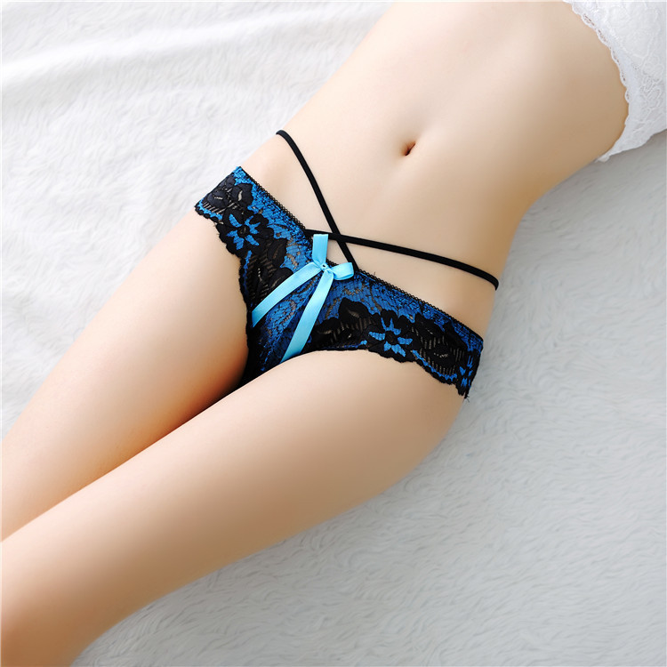 Buy 2018 New Ladies Underwear Strap Sexy Transparent Lace Women's Panties Hollow Low Waist Thong Briefs 6 Colors Wholesale