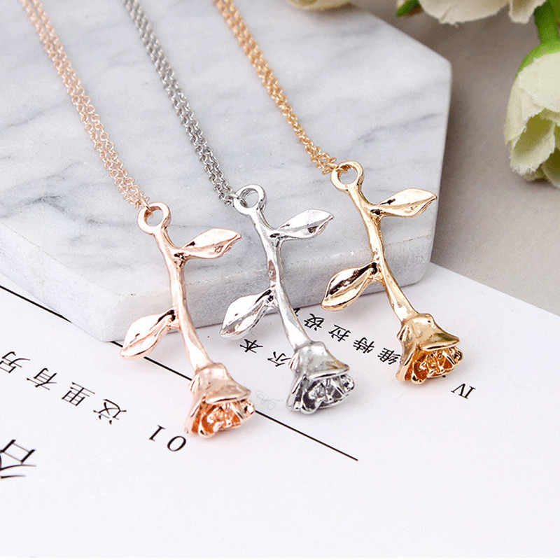 Hot Sell Delicate Rose Flower Pendant Necklace Charm Gold Silver Beauty Rose Jewelry Necklace For Women Girls 036