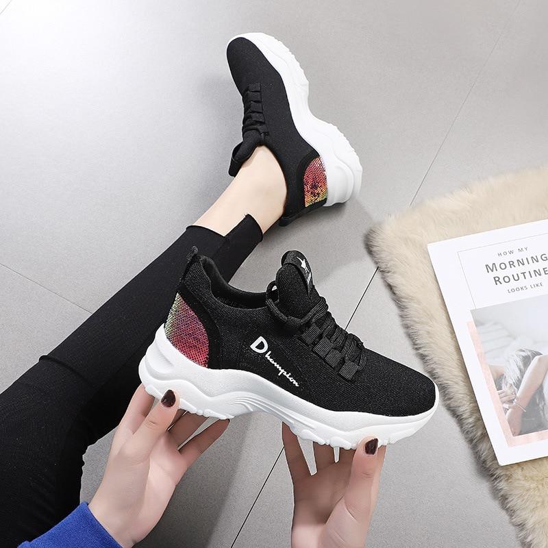 Vulcaniser Couture Noir Mode Med Sneakers Lacets forme Plate Couleurs Décontracté À Femmes Semelle Loisirs Chaussures Pour Haut Mélangées 9HEYeWD2I