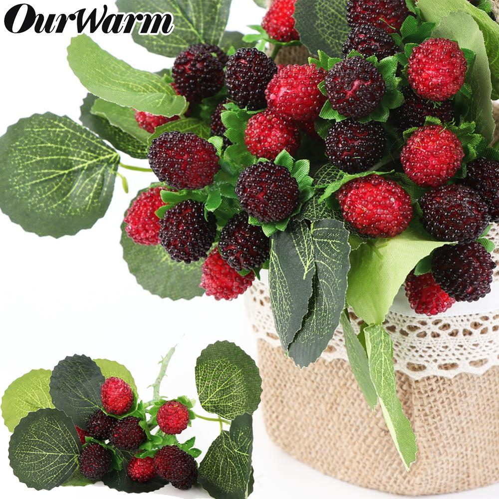 OurWarm 9 Heads Artificial Strawberry Foam Fruit Fake Plant Simulation Glass Fruit For Home Wedding Party Decoration 27cm