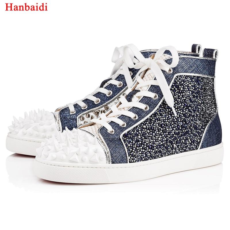 974b76950e45 Hanbaidi New Fashion Mens Casual Schuhe Wildleder Nieten Studed Shiny  Herren Laofers Landebahn Partei Kleid Schuhe. US  118.89. Männer ...