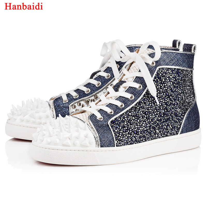 Hanbaidi New Fashion Mens Casual Shoes Suede Leather Rivets Studed Shiny Mens Laofers Ru ...