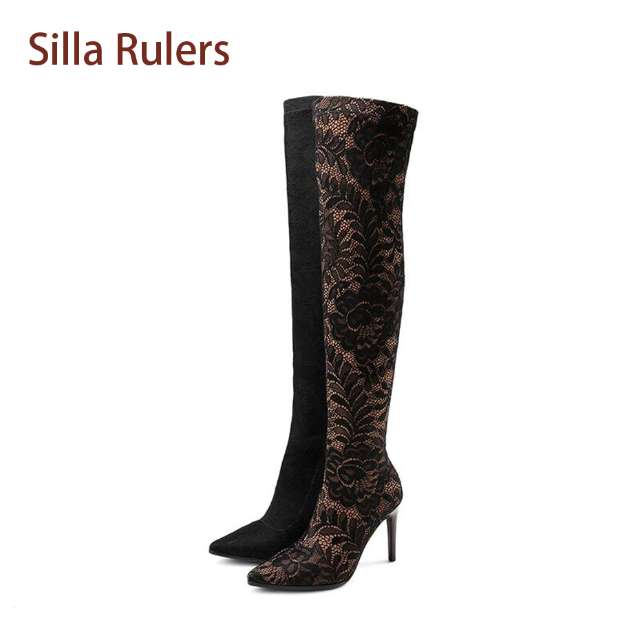 Silla rulers Elastic Cloth Women Thin Heel Boots Flower Floral Lace Pointed Toe Sexy Long Bootie Femme New Celebrity Bota 34-43