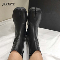 Black Genuine Leather Flat Ankle Boots Women Split Toe Apart Runway Short Boots For Women Shoes Zapatos mujer