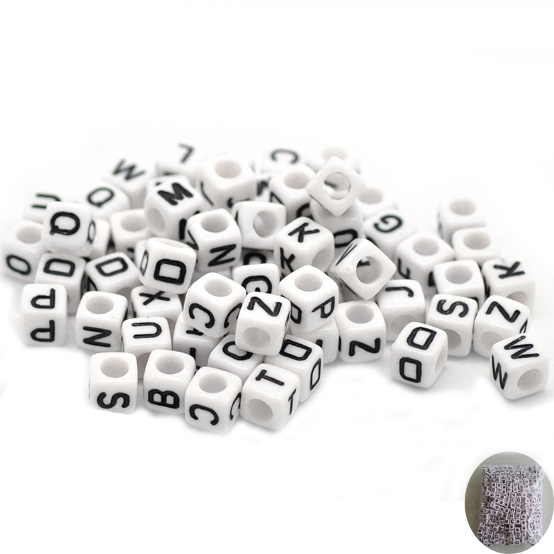 200 x Pink /& White Acrylic 6mm Cube Alphabet Beads Random Mix