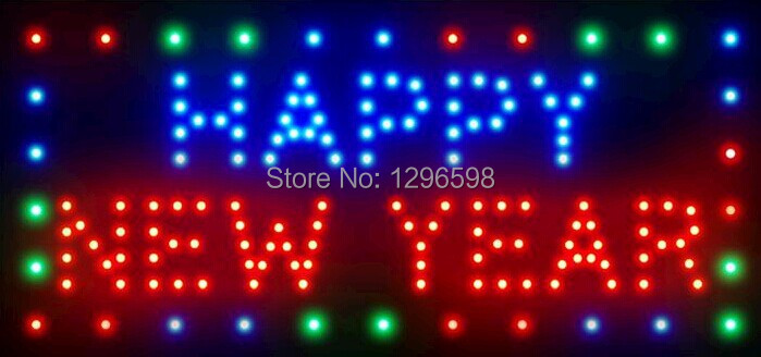 2017 Direct Selling custom Graphics 15.5X27.5 inch Indoor Ultra Bright flashing Happy New Year neon signboard of Led-