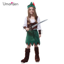 Umorden Kids Child Medieval Archer Hunter Robin Hood Costume for Girls Fancy Halloween Carnival Party Dress Up