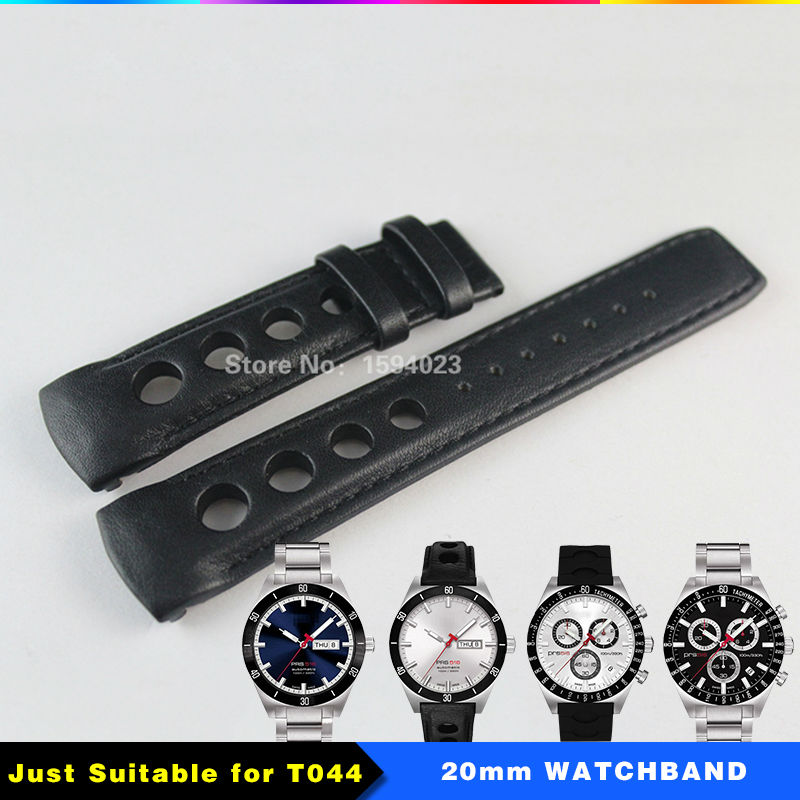 ФОТО 20mm T044430A PRS516 Watch Strap Durable Soft Genuine Leather T044 Watchband Wrist Bracelet T044417 Watches Man Group Black