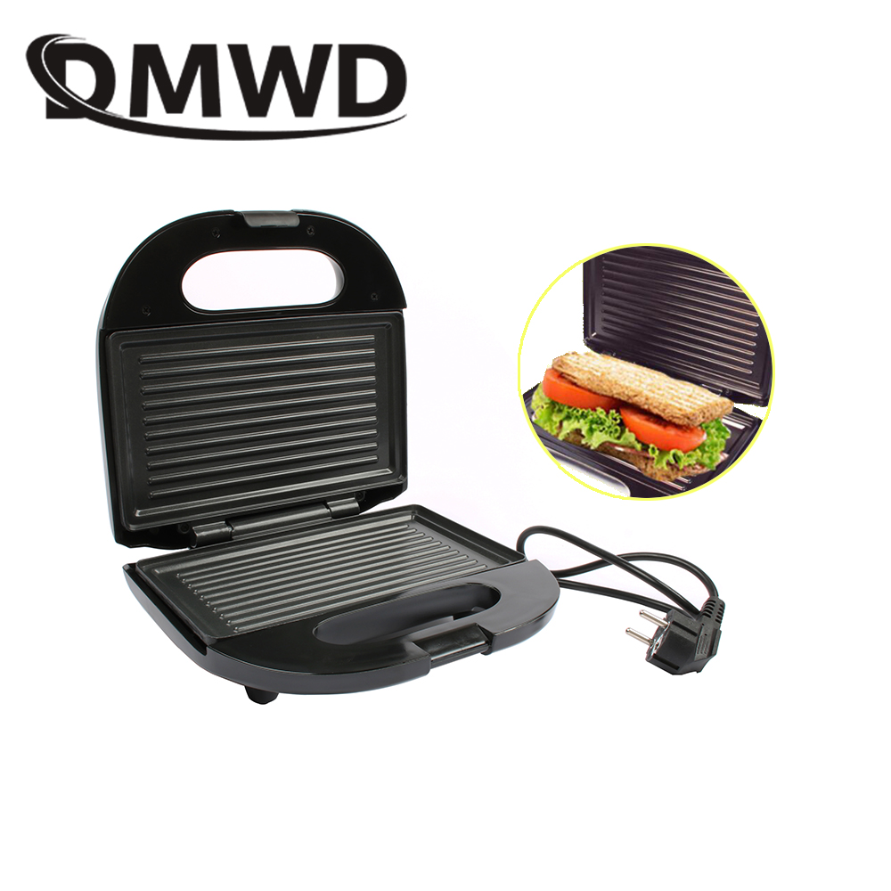 DMWD Electric Mini Sandwich Maker Grill Panini Non-Stick Pan Waffle Toaster Cake Breakfast Machine Barbecue Steak Frying Oven EU