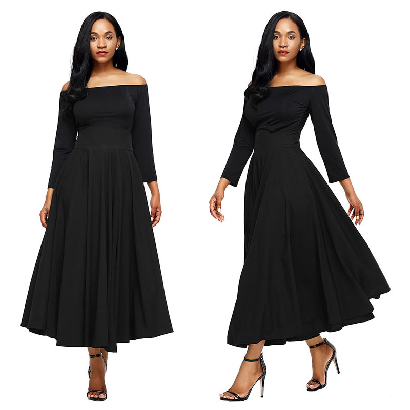 Black-Retro-High-Waist-Pleated-Belted-Maxi-Skirt-LC65053-2-3