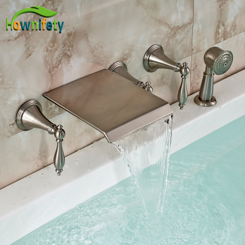 Brushed Nickel Tub Faucet Three Handles Wall Mounted Mixer Tap With Handshower