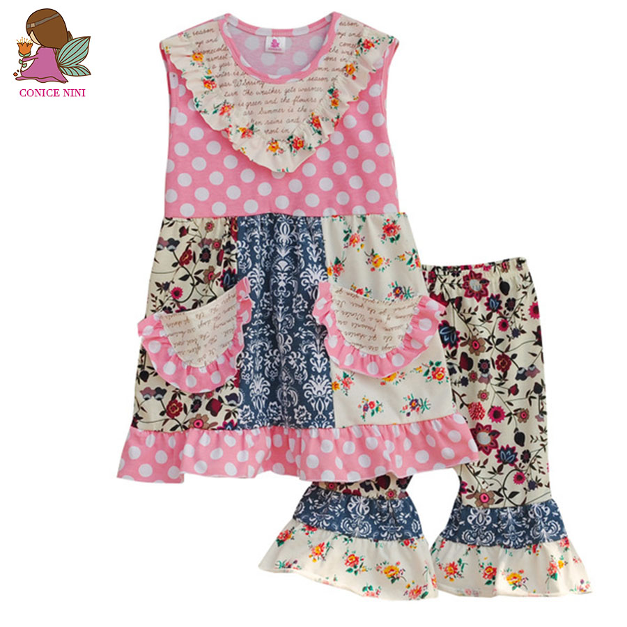 Big Promotion Summer Style Girls Boutique Clothing Set Multi-pattern Patchwork Pink Dot Ruffle Pants Kids Fashion S088 big promotion 100