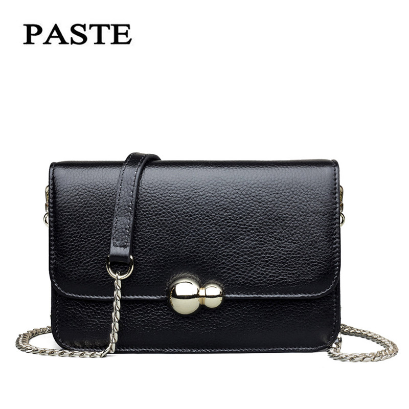 ФОТО PASTE 2017 NEW Fashion Brand genuine leather handbags mini bag Messenger bag shoulder bag fashion chain package