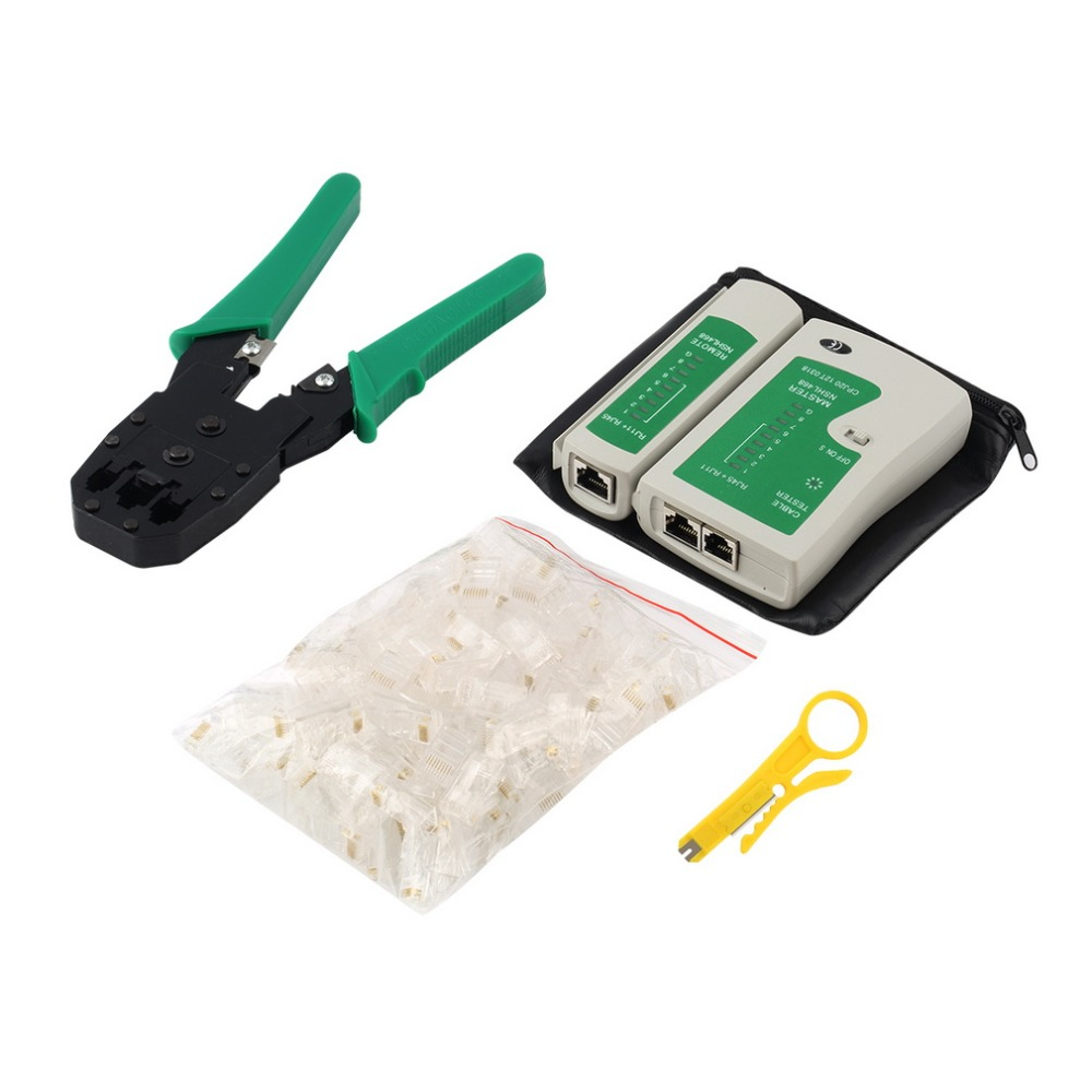 New Ethernet Network Cable Tester Tools Kits Rj45 Crimping Crimper Wiring Order Stripper Punch Down Rj11 Cat5 Cat6 Wire Line Detector