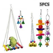 5 Pieces Pet Parrot Toy Set Parrot Hanging Bell Pet Bird Cage Hammock Toys Bird Toy for Parakeets Cockatiels Love Birds(China)