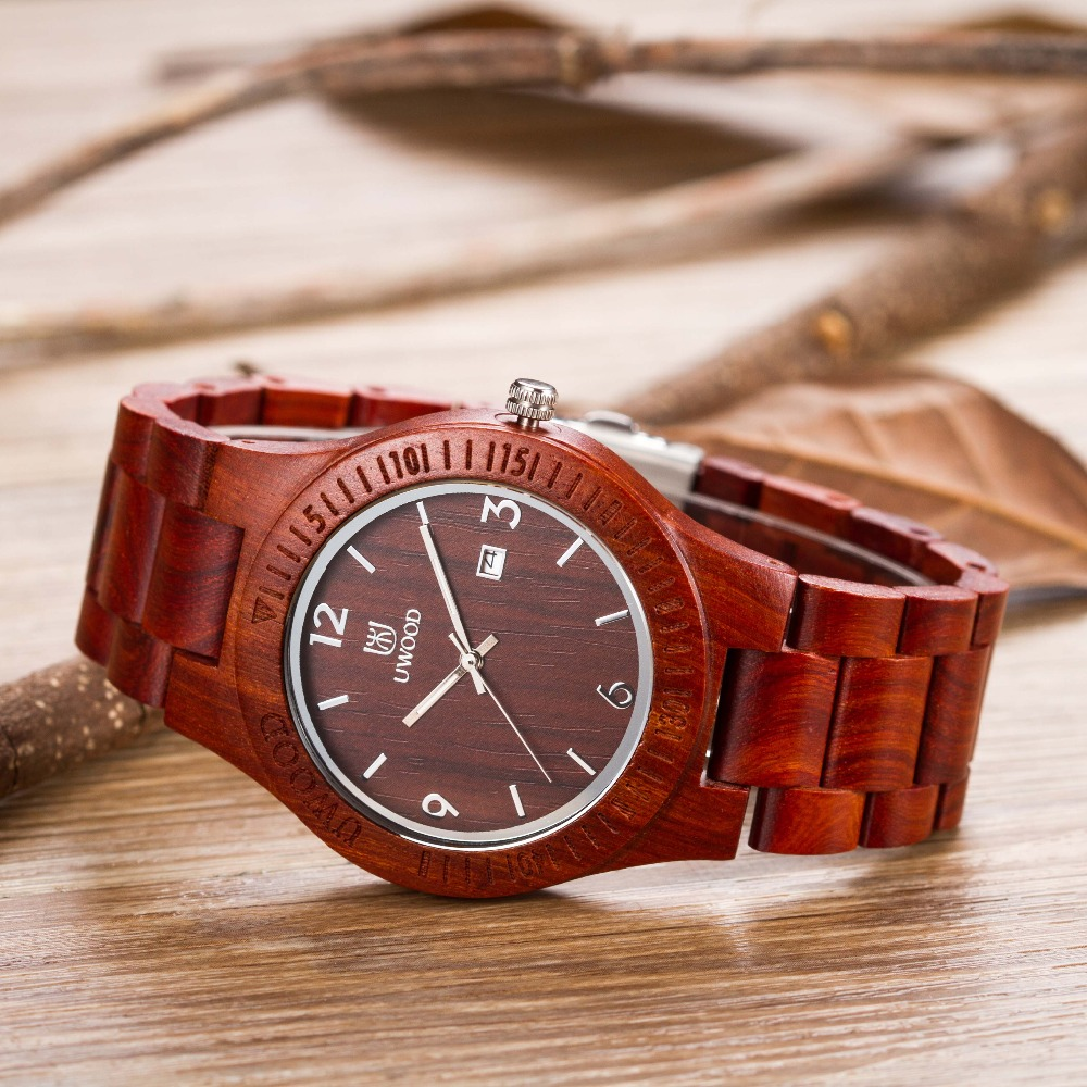 все цены на New Arrival Original Sandal Wood Men's Wristwatch Classic Folding Clasp Quarzt Movement Wrist Watch