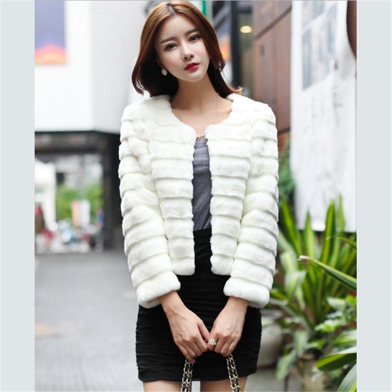 121b6d2c4 US $37.58  Top quality brand women short coat Fashion Elegant Lady Rabbit  Faux Fur jacket winter warm Furry Shaggy stripe Fake Fur Coats-in Faux Fur  ...