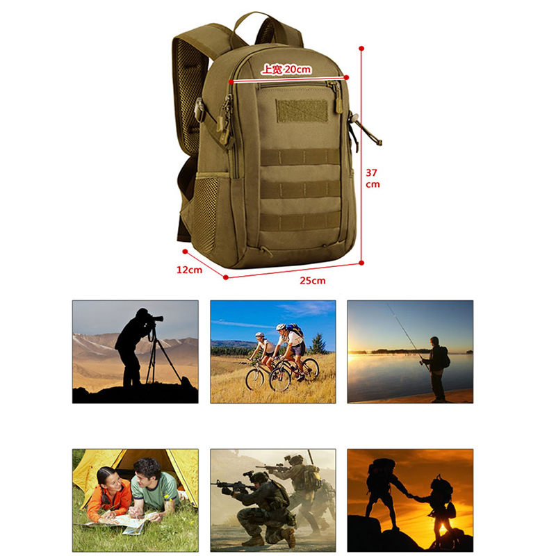 Mini Daypack Military MOLLE Backpack Rucksack Gear Tactical Assault Pack Student School Bag for Traveling Camping Trekking 12L lqarmy 3 day expandable backpack with waist pack large rucksack tactical backpack molle assault bag for day hiking tan