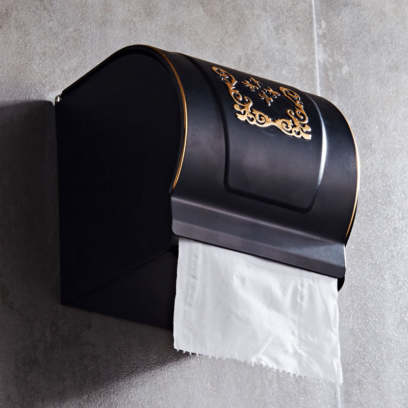 Space Aluminum Black Toilet Paper Holder European Antique Gold Carved Closed Tissue Box Waterproof Wall Mount Bathroom Hardware black of toilet paper all copper toilet tissue box antique toilet paper basket american top hand cartons page 7