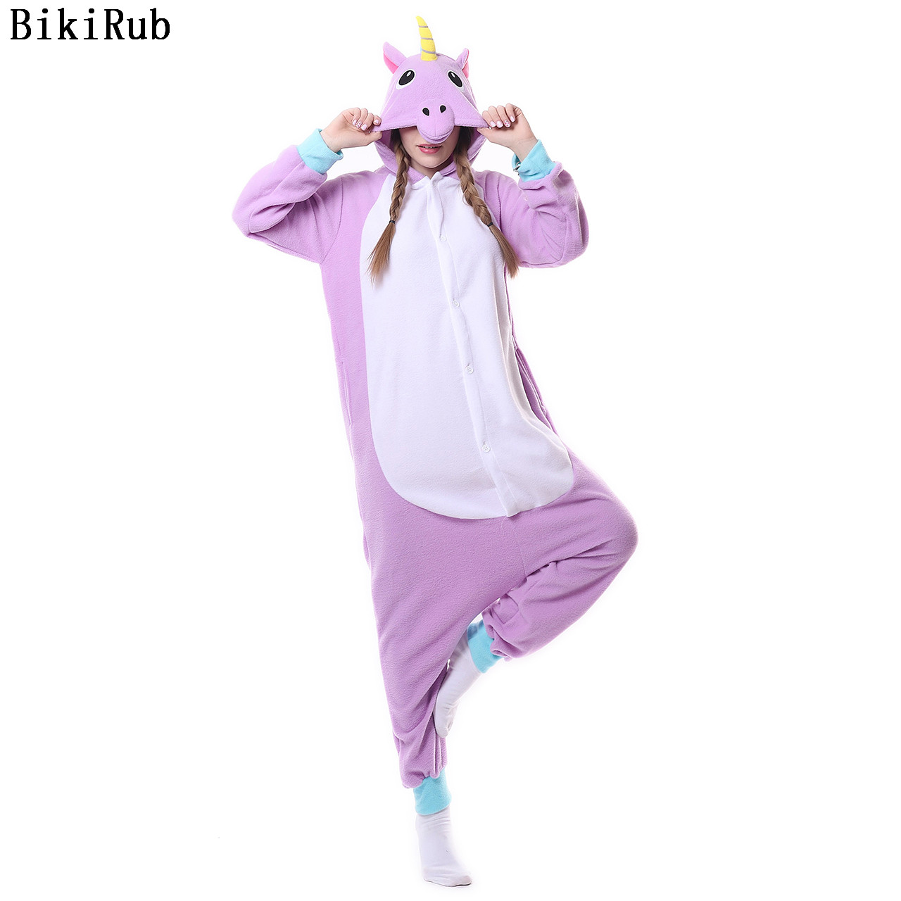 Hooded   Pajamas   kigurumi All in One Pyjama Animal Suits Cosplay Purple Pegasus Unicorn Garment Women Animal   Pajama     Set   Sleepwear
