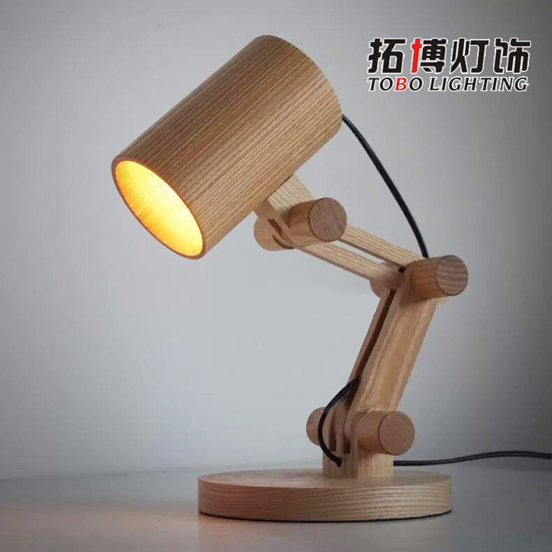 TUDA 18X35cm Modern European Style Table Lamp Creative Personality Wooden Table Lamp For Bedroom Study Small Log Lamp LED Lamp