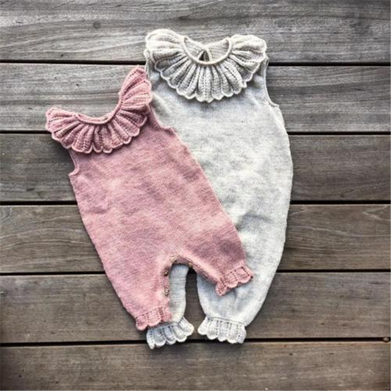 Infant Newborn Baby Girls Ruffle Knitted Wool   Romper   Jumpsuit Playsuit Pajamas Baby Clothes Cotton Baby Girls   Rompers