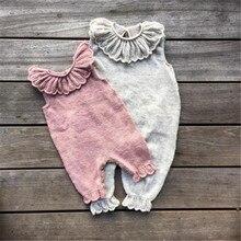 Infant Newborn Baby Girls Ruffle Knitted Wool Romper Jumpsuit Playsuit Pajamas