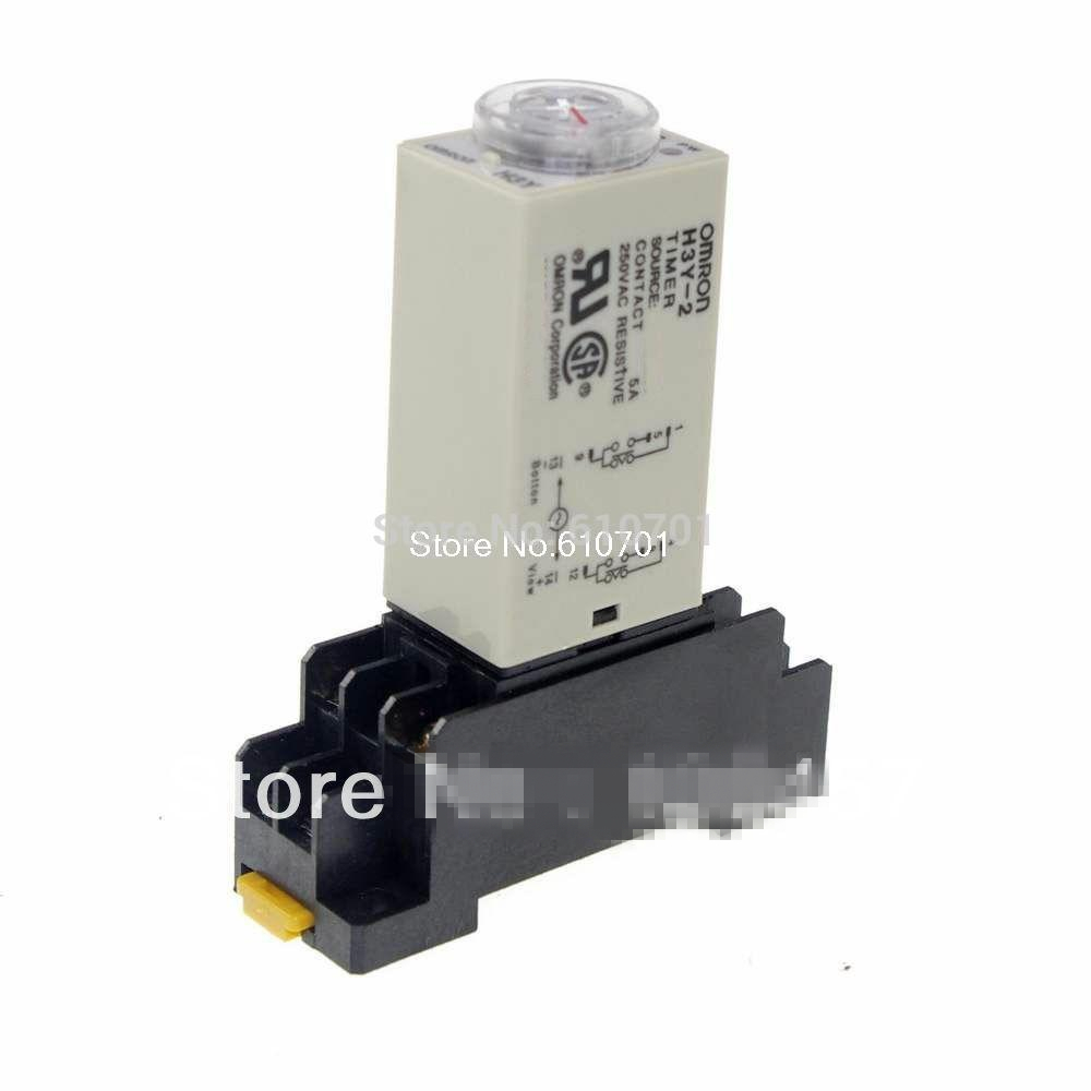 DC 12V/24V AC 24V/110V/220V H3Y-2 Power On Time Delay Relay Timer 0.1-3S DPDT 8Pins&Socket 5A