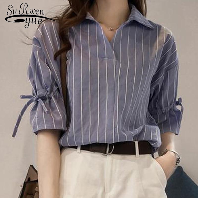 2018 new striped OL blouse women shirt casual plus size ladies tops office lady women blouse shirt blusas femininas 0440 40
