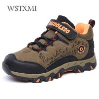 Winter Children Sport Shoes Boys Outdoor Sneakers for Kids Hiking Shoes Non slip Cotton Fabric Rubber PU Leather Waterproof Warm