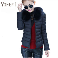 YOFEAI NEW 2017 Women Jacket Autumn And Winter Fashion Big Fur Collar Down Jacket For Woman
