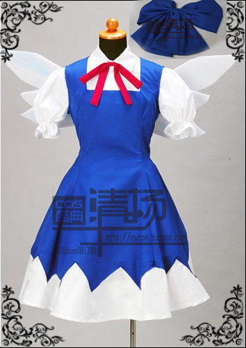 Touhou Project Cirno Cosplay Costume with wing custom any size anime touhou project flandre scarlet cosplay costume custom any size halloween