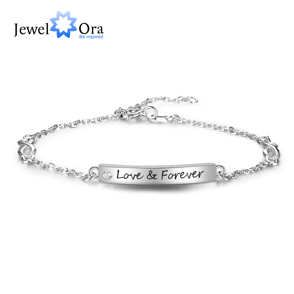 925 Sterling Silver Bracelets Customize Engrave Name Bar Bracelets Bangles Lovers JewelOra BA102093